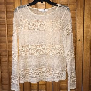 Forever 21 vintage cream lace long sleeve shirt